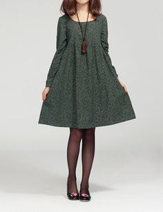 Lovely doll long sleeved tunic dress gown/ green/ by MaLieb plus size -  #clothing,  girl
