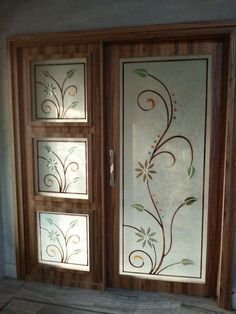 Kitchen Glass Doors, Glass Bathroom, Double Door Design, Front Door Design, Glass Partition Designs, Frosted Glass Design, Etched Glass Door, Pooja Room Door Design, Stained Glass Paint