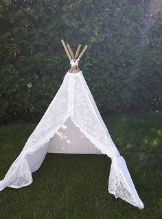 Lace and Cream Children's Play Tent TeePee   Whimsical