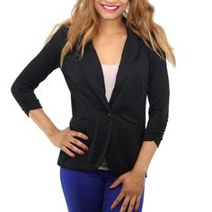 Rank & Style - Style & Co. Ruched-Sleeve Single-Button Blazer #rankandstyle
