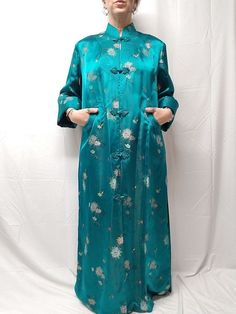 Vtg PEONY Brand Shanghai China Teal Silk Satin Womens Robe Knot Buttons 44  M L 88208d65b