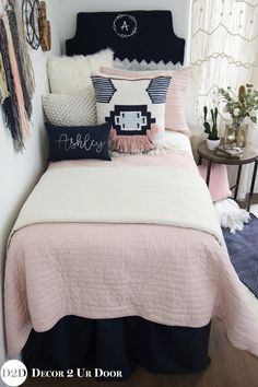 Custom dorm bedding packages from Cute dorm room bedding sets complete with throw pillows, duvet cover, bed skirt, headboard and more. All twin xl bedding sets are great dorm room ideas for you! Dorm Bedding Sets, Teen Girl Bedding, Girls Bedding Sets, Teen Girl Bedrooms, Teen Bedroom, Bedding Decor, Boho Bedding, Unique Bedding, Twin Xl Bedding
