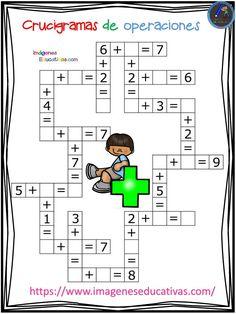 Crucigramas de operaciones sencillas - Imagenes Educativas