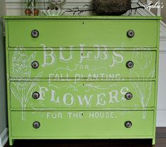 Painted #Dresser in a  #lime #green with words stencilled on the drawer fronts pertaining to a #garden theme.
