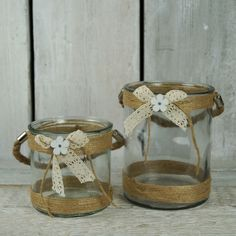Pretty little glass jars in two sizes. Perfect for  wedding centrepieces. http://www.thesatchvillegiftcompany.co.uk/products/new-for-spring-2016/new-spring-homeware