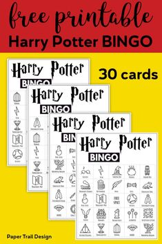 Free Printable Harry Potter Bingo Game – Paper Trail Design – Come Back to School Harry Potter Halloween, Harry Potter Motto Party, Harry Potter Party Games, Harry Potter Activities, Décoration Harry Potter, Harry Potter Thema, Classe Harry Potter, Harry Potter Classroom, Harry Potter Printables
