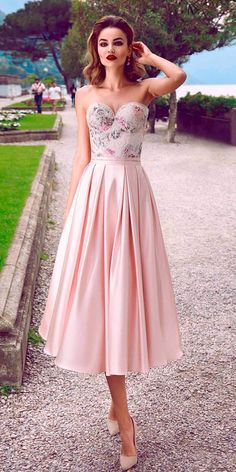 cc5ff6664dc beach wedding guest dresses blush strapless sweetheart neck floral tea  length innocentiadresses Pretty Summer Dresses