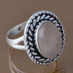 SOLID 925 STERLING SILVER ROSE QUARTZ RING 6.22g DJR8392 SZ-6.75 #Handmade #Ring