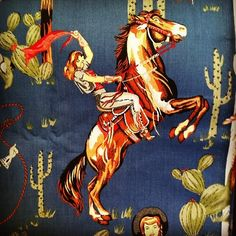 Love this fabric! #horses #cowgirls #western (Taken with Instagram)
