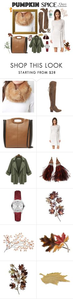 """""""Fall Coffee Run"""" by luxexox ❤ liked on Polyvore featuring ALDO, Maje, Club Monaco, Chicnova Fashion, Louis Vuitton, Burberry, C. Jeré, Bastien, Anne Klein and Pampa Bay"""