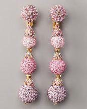 Jose & Maria Barrera Pave Drop Earrings In Light Pink...found at Bergdorf Goodman
