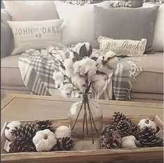 pine cones and cotton stems - rustedbliss on instagram