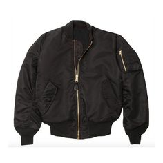 Air Tokyo MA-1 Bomber Jacket Black ($78) ❤ liked on Polyvore featuring outerwear, jackets, bomber, tops, zip bomber jacket, bomber jacket, logo jackets, flight bomber jacket and nylon bomber jacket