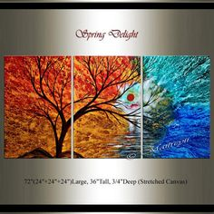 Largeartwork Collection - Decorate your home or office with original, large, abstract, oil and acrylic paintings created by the renowned Dallas, Texas artist Maitreyii.  ABOUT THIS PAINTING:  The spring delight painting can be focal point of your living room, bedroom, or office reception area; feel the flow of Love wash over and away the tenseness of the day.  The spring delight landscape art selection, from the Largeartwork Collection, is original, authentic, and personally signed by the…