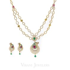 22k Gold CZ, Ruby, Emerald Peacock Necklace Set