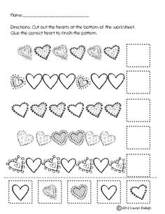 Valentine's Day Patterning Worksheet