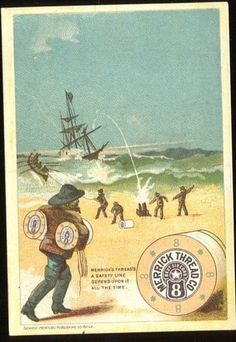 Victorian Trade Card Merrick Thread Sailor's Saving A Sinking SHIP C 1880'S