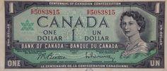 Canada centennial one dollar bill 1967