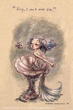 cute, fish, illustration, mermaid, underwater