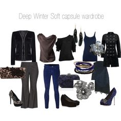 Deep Winter Soft by expressingyourtruth featuring white gold rings Deep Winter Soft capsule wardrobe by expressingyourtruth . Winter Wardrobe, My Wardrobe, Capsule Wardrobe, Wardrobe Basics, Winter Typ, Dark Winter, Paleta Deep Winter, The Capsule, Deep Winter Colors