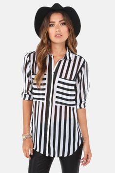 To Distant Bands Black And White Stripe Top