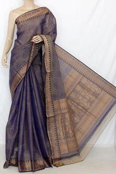 Purple Dhoop-Chhaon South Cotton Handloom Saree (With Blouse) 13902 Lehriya Saree, Khadi Saree, Silk Saree Kanchipuram, Saree Dress, Cotton Saree Blouse Designs, Fancy Blouse Designs, Simple Sarees, Trendy Sarees, Cotton Sarees Handloom