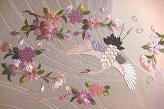 鶴(crane) japanese traditional embroidery