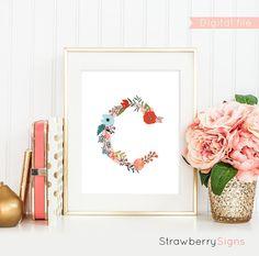 Printable monogram Letter C Floral Monogram by StrawberrySigns