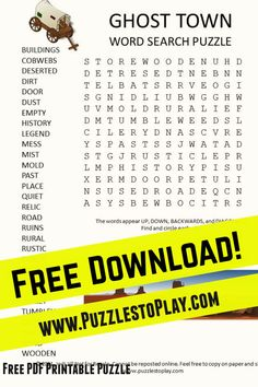 The fun of checking out the wild west as it once was is part of the ghost town word search. The printable puzzle offers a look at the years past!