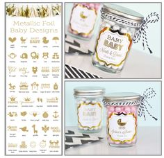 These Personalized Metallic Foil Mini Mason Jar Favors are perfect for a Pink (or Blue) and Gold Twinkle Twinkle Little Star themed shower! Fill the the jars with the treat of your choice to color coordinate with your decor, choose the star design and add your text and VOILA! Perfect baby shower Favor that ends up being super useful!