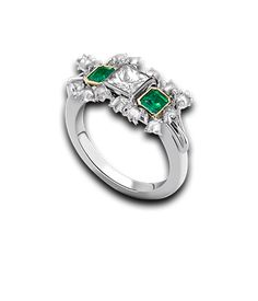 Emerald & Diamond Lily of the Valley Tryst Ring