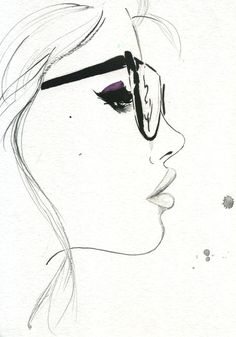 Items similar to That Nerdy Girl, Print from original watercolor and pen fashion illustration by Jessica Durrant on Etsy Easy Pencil Drawings, Cool Drawings, Drawing Sketches, Sketching, Pretty Drawings Of Girls, Pencil Art, Drawing Tips, Drawing Ideas, Simple Drawings