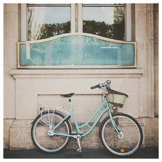 mint green paris bicycle photo print - whimsical fine art photography, europe, building, bike, blue, turquoise - 12x12