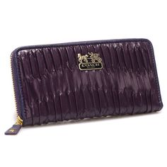 Coach Accordion Zip In Gathered Twist Large Purple Wallets CCJ Give You The Best feeling!