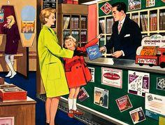 Illustration: Record shop,  1960s