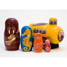 """Yellow Submarine Nesting Doll 5pc. - 6"""""""