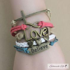 Armband Believe &  Herzchen  beige,blau,grün  im...