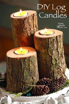 DIY log candle holder