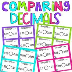 48 decimal task cards with answer key included.-Great for math centers, small groups, and whole group instruction. 4th Grade Fractions, Teaching Fractions, Elementary Teacher, Elementary Education, Addition Flashcards, Differentiation In The Classroom, New Years Activities, Decimal, Word Problems