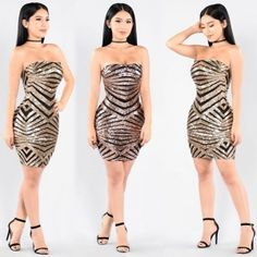 US$9.37 Gold and Black Sequins Tube Dress 23461