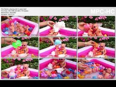 playing doll in pool