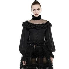 Punk Gothic Lolita Lantern Sleeve Women's Shirt  2017 Mesh Spliced Sexy Blouses Top  Femme Shirts Women's Clothing