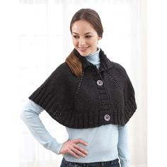 Top Down Button Front Capelet Free Knitting Pattern from Bernat of Yarnspirations