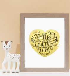 Plant Smiles In Gold. Kids wall art and wall prints.  Shop Love JK for nursery decor and nursery ideas.