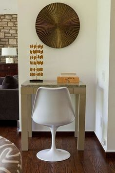 Mini Parsons Desk (+ custom marble slab top) in a home by A designCURE