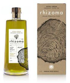 Rhizoma Extra Virgin Organic Olive Oil Design by: www. Olive Oil Packaging, Food Packaging Design, Bottle Packaging, Coffee Packaging, Label Design, Package Design, Design Design, Graphic Design, Olive Oil Bottles