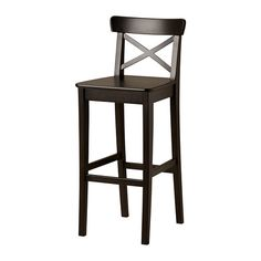 INGOLF Bar stool with backrest - brown-black, 29 1/8 from Ikea for $69.99 a piece