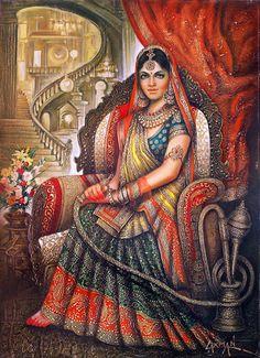 Laxman kumar - artworks for sale Indian Women Painting, Indian Art Paintings, Ravivarma Paintings, Indian Artwork, Traditional Paintings, Traditional Art, Rajasthani Painting, India Art, Woman Painting