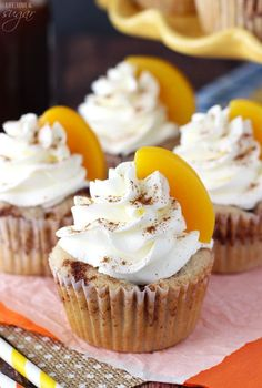 These cupcakes are full of cinnamon and peaches and perfect for summer! These Peach Cobbler Cupcakes are a fun twist on a classic southern dessert. The cupcakes are full of cinnamon and peaches and topped with whipped cream! Peach Cobbler Cupcakes, Peach Cobblers, Food Cakes, Cupcake Cakes, Cup Cakes, Southern Desserts, Homemade Whipped Cream, Dessert Recipes, Unique Cupcake Recipes