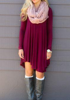 Wine Red Plain Irregular Heart-Shaped Neckline Mini Dress